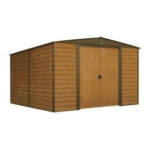 Woodridge 10 ft. W x 12 ft. D Wood-grain Galvanized Metal Storage Building