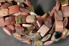 "NATURAL PINK PERUVIAN OPAL RECTANGLE PILLOW BEADS 18X14MM 16"" STRAND"