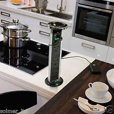 1 Kitchen Vertical POP UP Plug Sockets Powerdock With USB Connectors KENGO