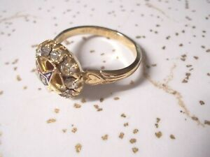 Order Eastern Star 10k gold filled HEART rhinestone RING >>4,5,7,8,9,10,11,12 +