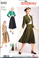SIMPLICITY SEWING PATTERN 8462 MISSES SZ 16-24 1940s RETRO BLOUSE SKIRT & BOLERO