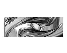Bild Leinwand Bilder Wirbel Metall Silber Chrome Schwarz Weiss Abstrakt  Nr.143