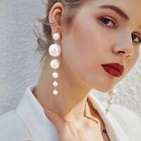 *New Long Dangle Drop Pearl Fashion Jewellery Earrings* Gold Exaggerate Big Look