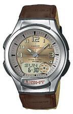 Reloj Analógico Casio AQ-180WB -5 BVES Caballeros de Cuarzo Dial Dorado Correa de nylon color beige