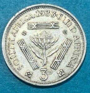 1933 South Africa KGV 3 Pence 3d 0.800 Silver Coin High Grade