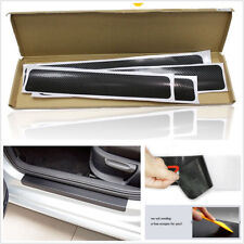 4 Pcs Black 4D Car Accessories Door Sill Scuff Carbon Fiber Grain Stickers Kit