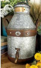Distressed Metal Milk Jug Can, Brass Spigot & Lid Rustic Vintage Farmhouse Decor