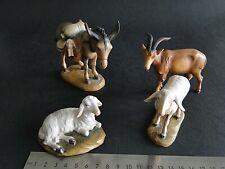 Großer Esel zwei Schafe und Ziege Holz gefasst für 17 cm Figuren.