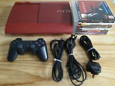 *****RARE RED***** PS3 Super Slim 500gb Console, Updated & Reset, 6 Games bundle