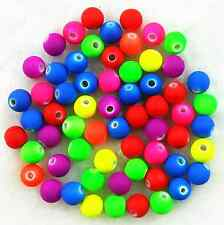 200Pcs 6mm Neon Matte Rubber Acrylic Mixed Color Spacer Loose Beads