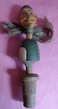 1930s Black Forest Anri Depose Carved Head Rubber Neck Bottle Stopper