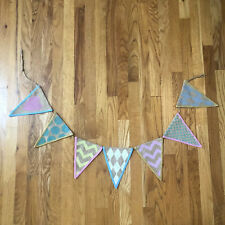 Hobby Lobby Pink Blue Yellow Banner Burlap Bunting Home Decor Photo Prop