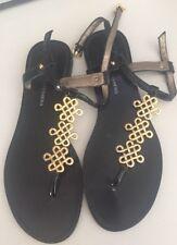 Diane von Furstenberg Black and Gold Thong Flat Sandals With Straps Size 7