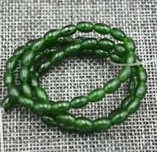 "4x6mm Natural Green Emerald Gemstone Rice-shaped Loose Beads 15""AAA"