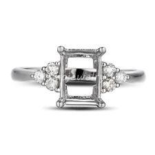 14K White Gold DiamondSetting Semi-mount Engagement Ring Emerald Cut 6x8MM