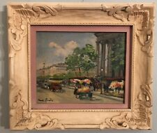 "Vintage Charles Blondin French Impressionist Oil Painting -""Paris Flower Market"""