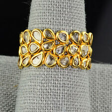 18k Solid Yellow Gold 3.25 Carat Rose Cut Champagne Diamond Eternity Ring 7.25