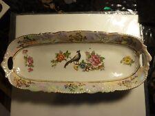 Vintage Iridescent Oblong Serving Platter Bowl - Bright, colorful graphics