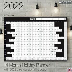 2022 Wall Calendar A2+ Chart Holiday Planner Home Office 14 Months BLACK +Bonus!