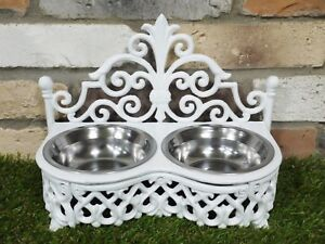 Stunning Decorative Cast Iron Dog/Cat Bowl With Removable Stainless Steel Bowls