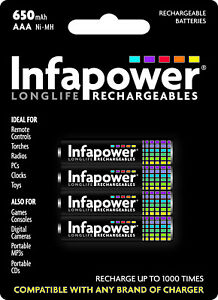 Infapower B001 Rechargeable AAA Ni-Mh Battery 1.2v 650mAh - pack of 4