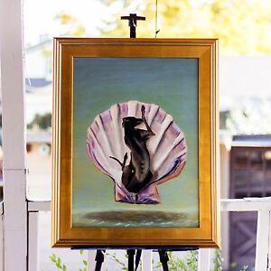 """""""Birth of Coco"""", Oil 18x24"""" - Dog Portrait modern Art Birth of Venus parody"""