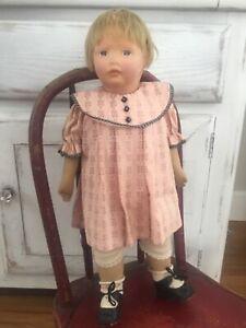 ANTIQUE KAMKINS MOLDED CLOTH GIRL DOLL SIGNED PAT NOV 2 1920