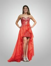 13688 RED CRUSH PROM HI-LOW MIRROR SEQUINS GOWN FORMAL PROM PAGEANT DRESS Sz 4
