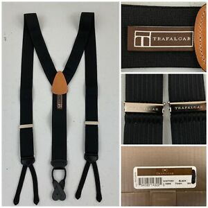 Trafalgar Mens New Suspenders Braces Black With Stripes