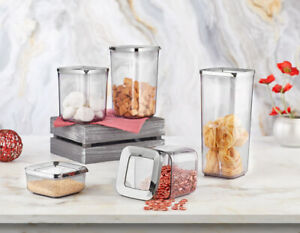 Set of 5 Containers Airtight Food Storage Kitchen Accessories Silver