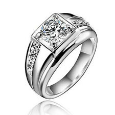18k White Gold Plated Men Wedding Band Engagement Silver Color Ring Size 10 R13
