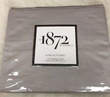 1872 Bloomingdale Gray/Stone  700TC Solid Flat Sheet Queen 100% Egyptian Cotton