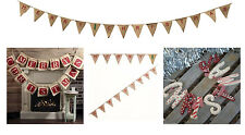 Merry Christmas Bunting Banner Xmas Photo Prop Decoration Hessian Wooden