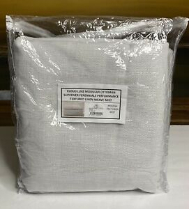 Restoration Hardware Cloud Luxe Ottoman SLIPCOVER Textured Linen Mist NEW $1,795