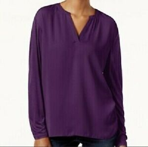 INC Long Sleeve Purple V-Neck Casual Pullover Blouse Top Size S NWT Free Ship
