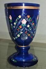 Beautiful Antique Hand Blown Cobalt Blue Flash Cut & Enamelled Glass Rummer 1850