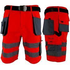 Arbeitshose Kurze Hose Kurz Bermuda Shorts Leuchtrot Grau Gr. S - XXXL