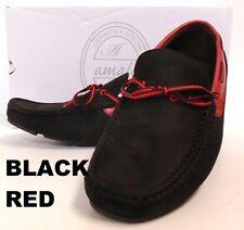 Men's AMALI brown black purple faux suede 2 tone boat loafers slip on style 1414