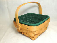 LONGABERGER Small Berry Basket Combo Sw/H Ivy Green Liner Protector 1999 EUC