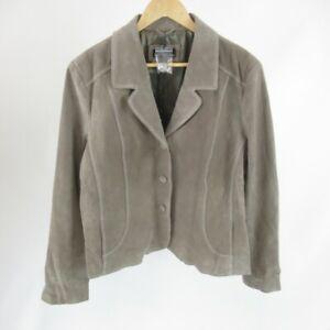 "Wallace Sacks Jacket 20 Suede Leather Brown Beige Blazer 46"" Chest Short Length"