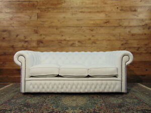 3-seater Chesterfield sofa, brand new English in white eather.
