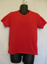 XIOS New York Men's Red T-Shirt Short Sleeve V-Neck 100% Cotton Size L