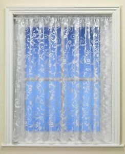Best Selling Gloria Floral White Net Curtain Great Value - UK Seller