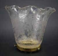 """Clear 4"""" Tall Etched Glass Vintage Lamp Shade w/ Brass Base"""