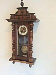 ATTRACTIVE VIENNA REGULATOR WALL CLOCK IN PERFECT WORKING ORDER circa 1900.