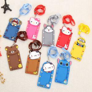 Cartoon PVC Plastic Card/ID Holder&Lanyard/Luggage Bag Label Kids Xmas Gift UK