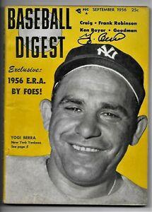 Yogi Berra Signed 1956 Baseball Digest Magazine w/ photo