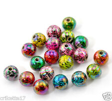 20 perles intercalaires  acrylique rond motif  12 mm créations bijoux