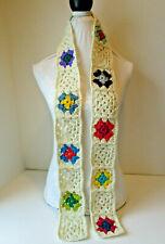Crochet Scarf-Granny Squares-Skinny Scarf-Cream Color Trim