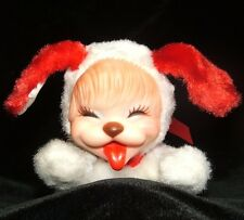 Rushton White Rubber Face Puppy Valentine Love Red Ears Plush 7 Inches Vintage